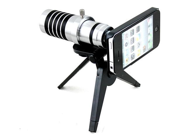 Apexel Detachable 12X Telephoto Zoom Telescope Camera Lens Kit with Tripod and Hard Case for iPhone 5 5G 5S Silver