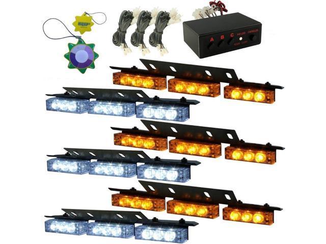 HQRP White / Amber 54 LEDs 6 Panels Deck Dash Grill windshield Emergency Hazard Warning Truck Snow Plow Safety Strobe Lights plus HQRP UV Meter