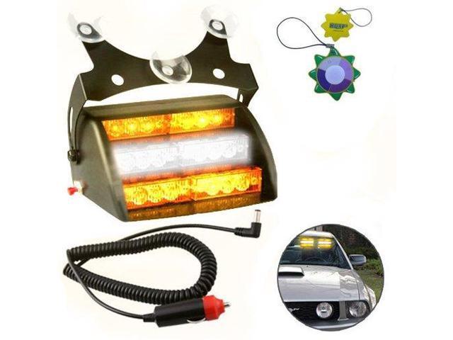 HQRP Amber / White 18 LED Car Emergency Vehicle Warning Strobe Flash Light 12V with 4 Flash Mode plus HQRP UV Meter