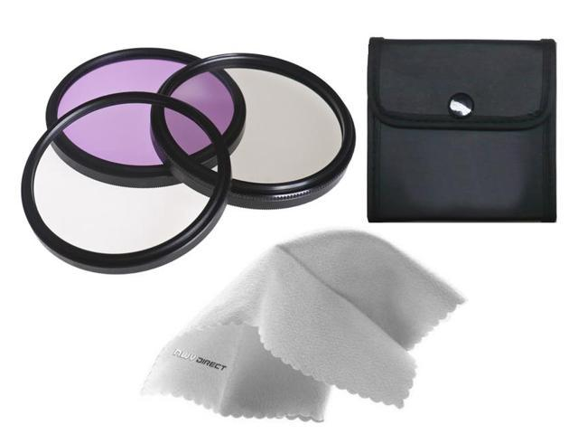 Sony Alpha DSLR-A100 High Grade Multi-Coated, Multi-Threaded, 3 Piece Lens Filter Kit (62mm) Made By Optics + Nw Direct Microfiber Cleaning Cloth.