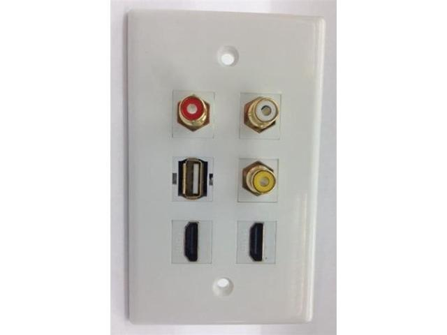 CERTICABLE CUSTOM WHITE WALL PLATE 2x HDMI + USB 2.0 + 3x