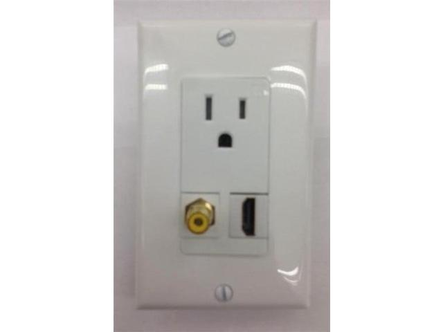CERTICABLE AC 15A 110V POWER OUTLET + HDMI 1.4 +RCA YELLOW