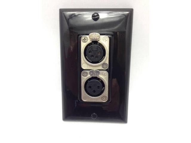 CUSTOM BLACK WALL PLATE- 4 PIN  XLR + 3 PIN XLR - AUDIO VIDEO MICROPHONE CAMERAS - OEM