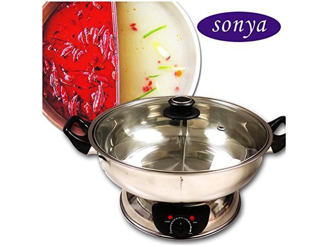 sonya syhs 30 shabu shabu electric pot 30cm stainless pot 2 division newegg