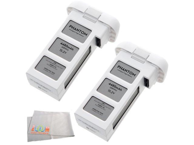 2 DJI DJI-P3-Battery Intelligent Batteries for Phantom 3 Drones (White) + Microfiber Cleaning Cloth