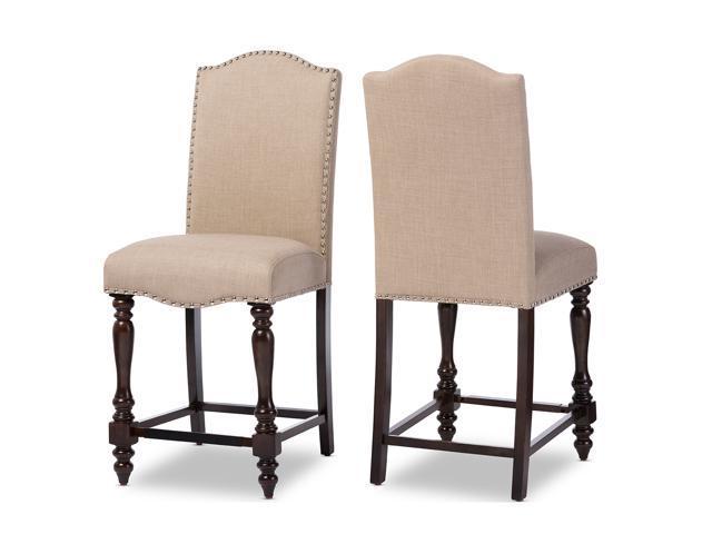 Baxton Studio Zachary Chic French Vintage Oak Brown Beige Linen Fabric Uphols