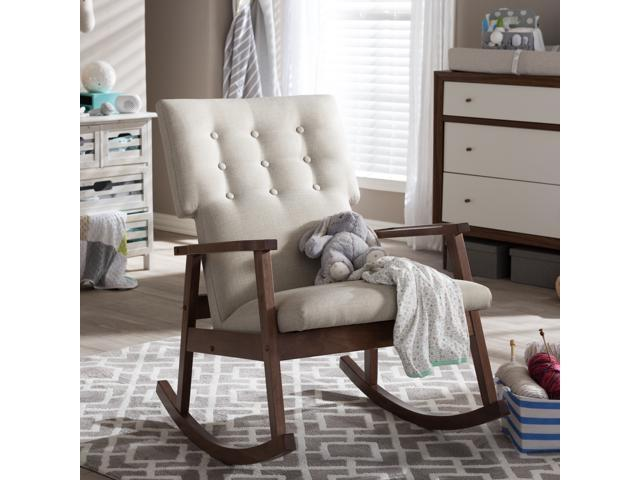 Agatha Mid Century Modern Light Beige Fabric Upholstered Button Tufted  Rocking Chair