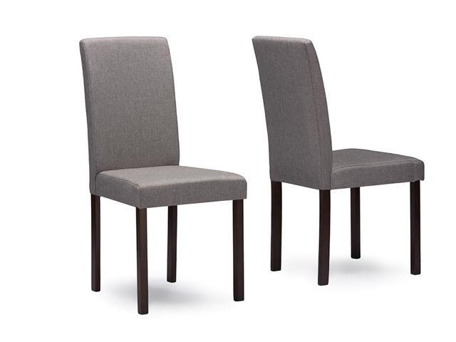 Baxton studio andrew contemporary espresso wood grey fabric dining