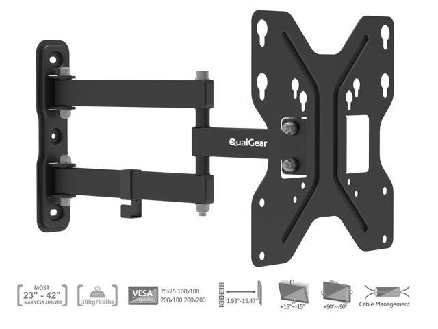 QualGear® QG-TM-006-BLK Universal Low Profile Tilting Wall Mount for most 23-Inch to 42-Inch LED Flat Panel TVs