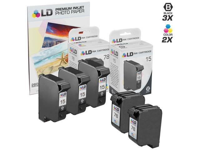 LD © Remanufactured Ink Cartridge Replacements for HP C6615DN (HP 15) Black and HP C6578DN (HP 78) Color (3 Black and 2 Color) + Free 20 Pack of Brand 4x6 Photo Paper
