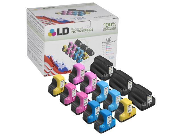 LD © Remanufactured Bulk Set of 13 Replacement Ink Cartridges for Hewlett Packard HP 02
