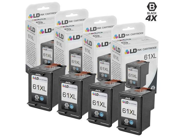 LD Remanufactured Replacement Ink Cartridges for HP CH563WN HP 61XL / 61 High-Yield Black (4 Pack) for the HP ENVY 5530, 5531, HP DeskJet 3054, J610a, 2514, 3512, 3056A, OfficeJet 4632 DeskJet 3056A