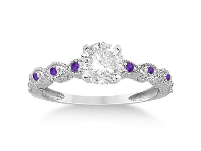 Vintage Marquise Amethyst Engagement Ring 14k White Gold (0.18ct)