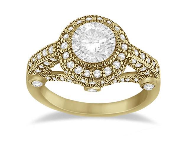Vintage Diamond Halo Art Deco Engagement Ring 18k Yellow Gold (0.97ct)