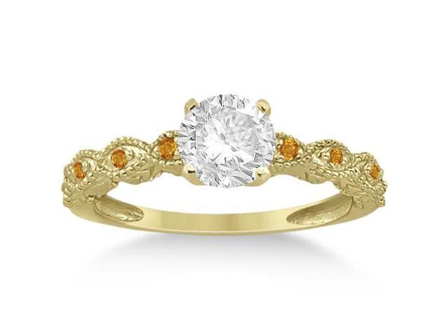 Vintage Marquise Citrine Engagement Ring 14k Yellow Gold (0.18ct)