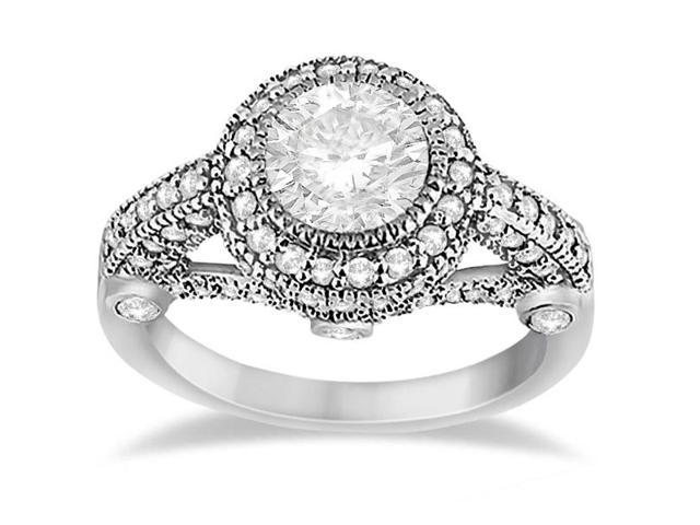 Vintage Diamond Halo Art Deco Engagement Ring Palladium (0.97ct)
