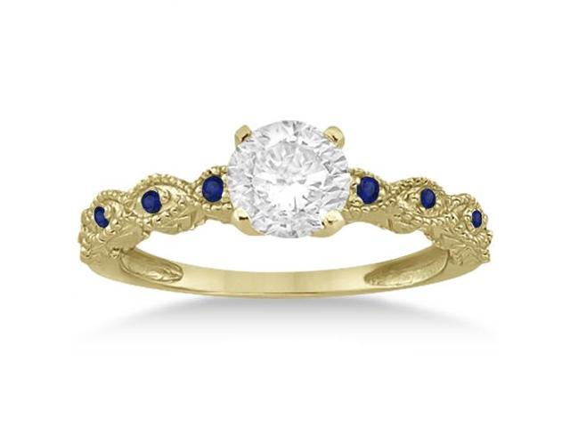 Vintage Marquise Blue Sapphire Engagement Ring 14k Yellow Gold (0.18ct)