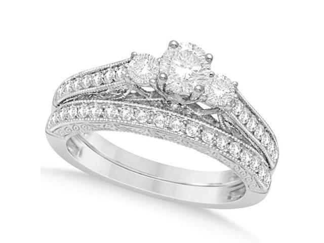 Vintage Style Three Stone Diamond Bridal Set 14K White Gold 1.04ctw