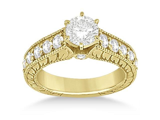 Vintage Diamond Engagement Ring Setting 14k Yellow Gold (1.05ct)