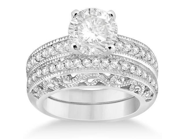 Vintage Filigree Diamond Bridal Ring Set 14K White Gold (0.64ct)