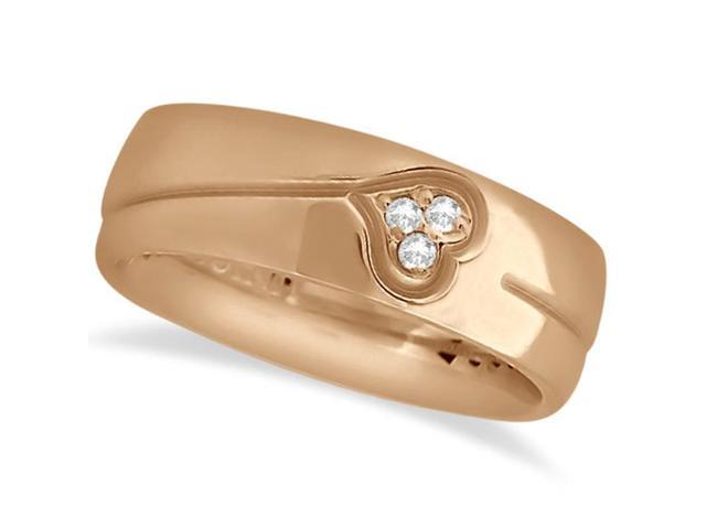 Diamond Accented Heart Design Wedding Band 14k Rose Gold (0.045ct)