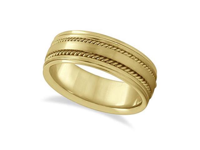 Handmade Rope Wedding Band For Men 18k Yellow Gold (7.5mm)