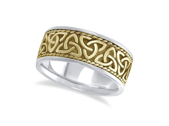 Mens Handmade Celtic Irish Wedding Ring 14k Two-Tone Gold (10mm)