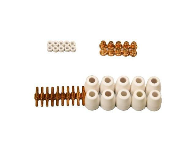 Lotos LCON40 40 Pcs Consumables Nozzle Electrode Cup and Ring for 50A Lotos Plasma Cutters Cut50D, LT5000D, CT520D, BLCT520D