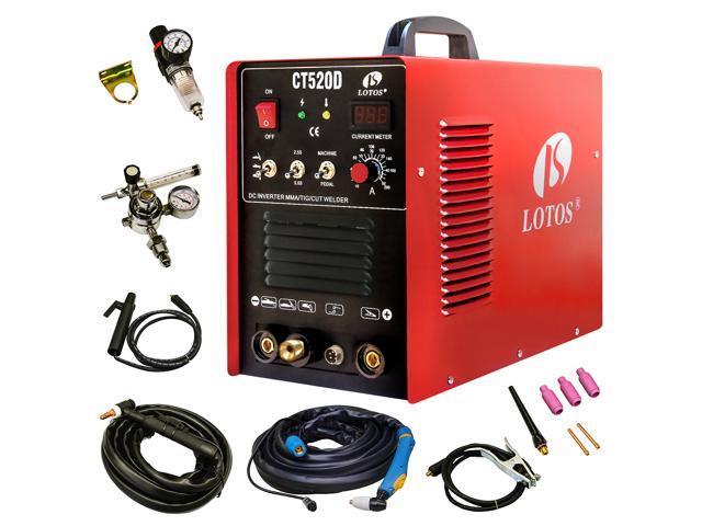 Lotos CT520D Plasma Cutter Tig Stick Welder 3 in 1 Combo Welding Machine, 50Amp Air Plasma Cutter, 200A TIG/ Stick Welder, Dual Voltage 220V/110V