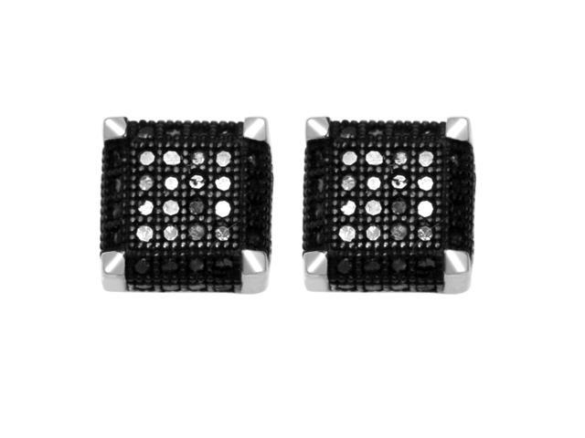 De Couer Sterling Silver 1/3ct TDW Black Diamond Earring (H-I, I2)