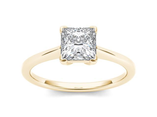 14k Yellow Gold 1ct TDW Diamond Princess Cut Solitaire Engagement Ring (H-I, I2)