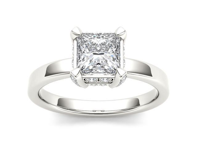 14k White Gold 1 1/4ct TDW Diamond Solitaire Princess Cut Engagement Ring (H-I, I2)