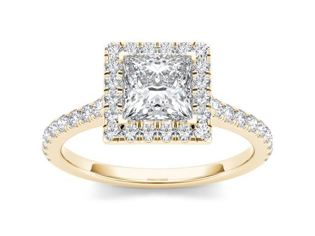 14k Yellow Gold 1 1/2ct TDW Princess Cut Solitaire Diamond Engagement Ring (H-I, I2)