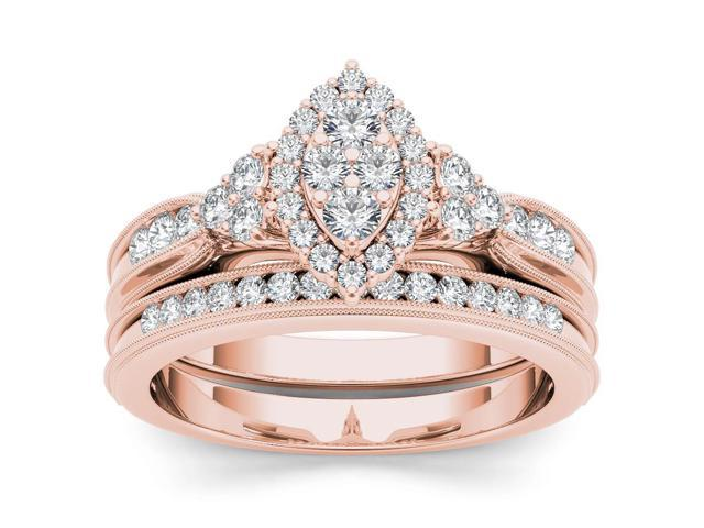 De Couer 10k Rose Gold 1/2ct TDW Diamond Marquise-Framed Halo Engagement Ring Set with One Band (H-I, I2)