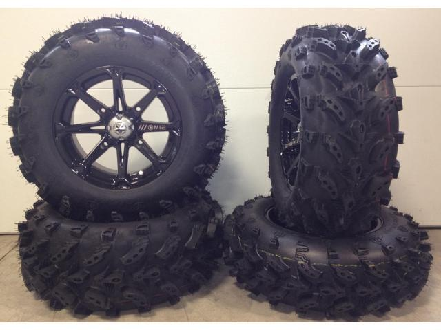 "MSA Black Diesel 14"" UTV Wheels 27"" Swamp Lite Tires Honda Pioneer - Newegg.com"
