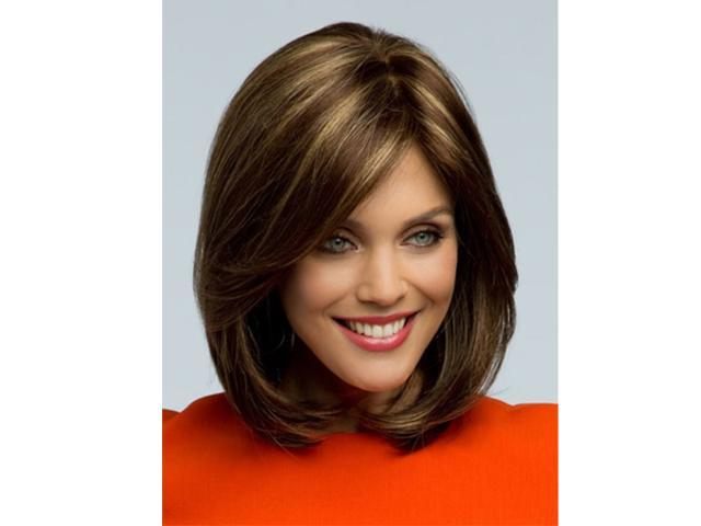 Peluca Peruca Sexy Bob Synthetic  Medium Long Straight Brown   wig with Side bangs  for women