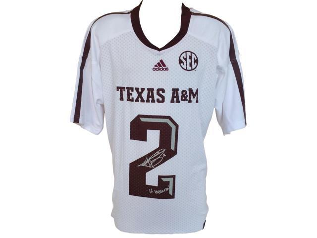 Johnny Manziel Signed Texas A&M White Adidas Jersey X-Large Heisman JSA
