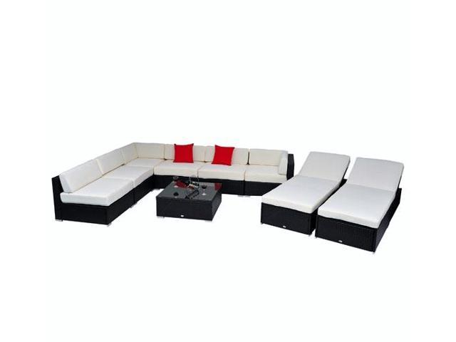 Outsunny Deluxe 9 pc. Wicker Sectional Collection
