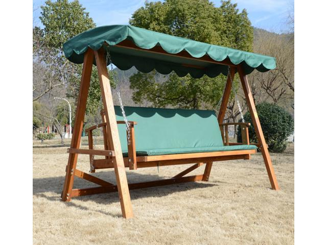 Reclining Solid Wood Patio Swing