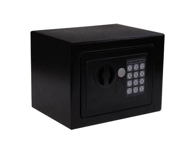 HomCom Small Steel Digital Electronic Safe Box Wall Mount Security Case Cabinet Keypad Lock Home Office Hotel Gun Cash Jewelry Black