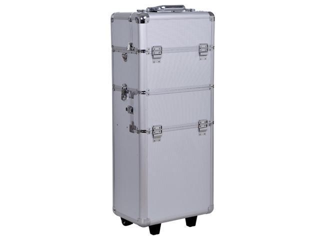 HomCom Pro 3-in-1 Portable Rolling Makeup Case Cosmetic Organizer Box Aluminum, Silver