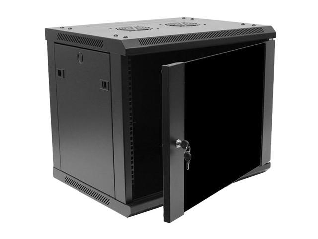 navepoint 9u deluxe it wallmount cabinet enclosure 19 inch server network rack with locking. Black Bedroom Furniture Sets. Home Design Ideas
