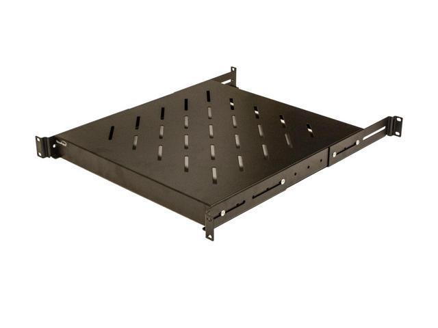 navepoint 1u 19 inch fixed 4 post rack mount server shelf with adjustable depth from 19 27. Black Bedroom Furniture Sets. Home Design Ideas