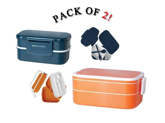 bento lunch box w handles utensils fun food storage containers 2 pack. Black Bedroom Furniture Sets. Home Design Ideas