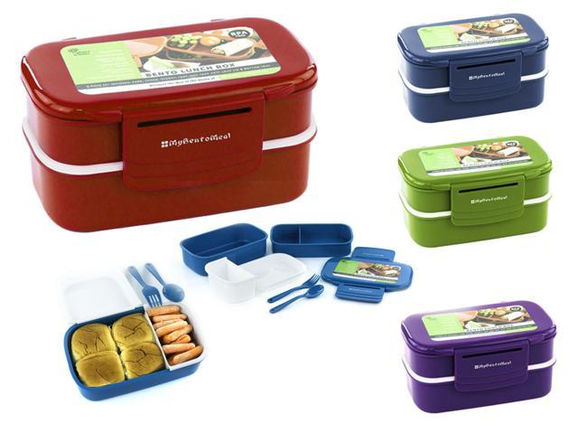 stacking bento lunch box w utensils 6pcs fun food storage containers. Black Bedroom Furniture Sets. Home Design Ideas