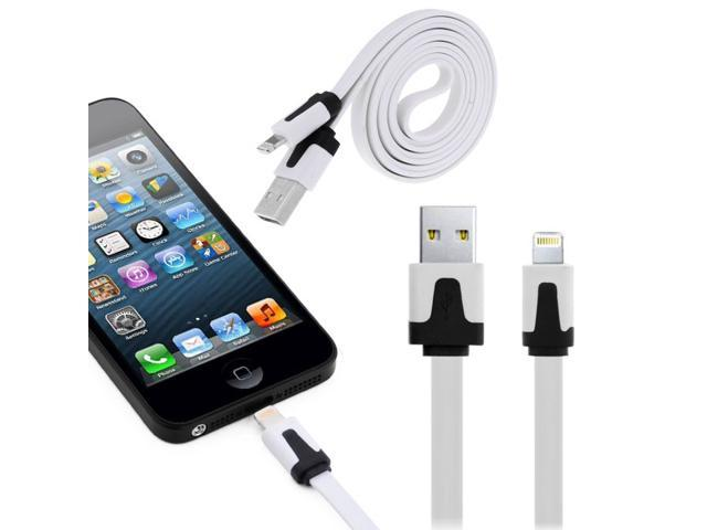 1M Noodle Shape 8-Pin Lightning Port Cable USB Sync Data/ Charging Cable for iPhone5/ iPad Mini/ 4 Generation iPad - White