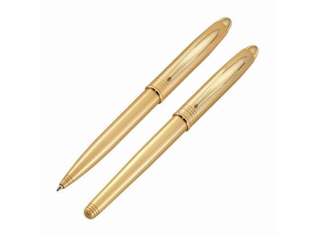 Gold Plated Silver Gold Roller Pen And Ball Point Pen Set (Gift Box Included)