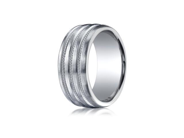Argentium Silver 10Mm Comfort Fit Satin Finished Braid Design Wedding Ring Band Newegg