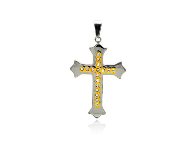 2 toned gold plated cubic zirconia stainless steel cross pendant