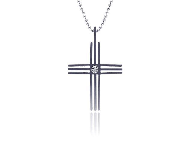5 row cubic zirconia center cross stainless steel pendant (Chain Not Included)